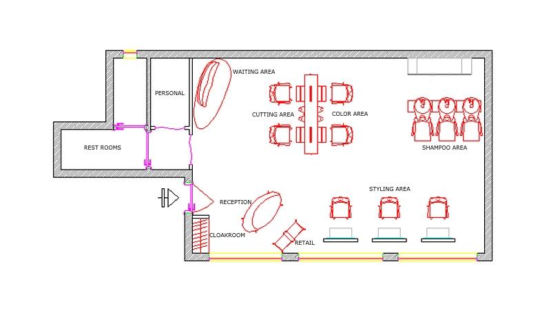 Hair salon blueprints joy studio design gallery best for Salon floor plans free
