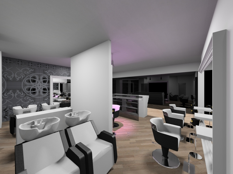 Salon Space - 150mq - 1614ft - Shampoo Unit Area